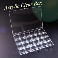 1pc Lot 6cells Jewelry Boxes Plastic Acrylic Cosmetic Nail Art Pill Box Cases Portable Storage Container