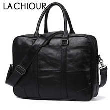 Black Men Genuine Leather Handbags Office Bags for Mens A4 Messenger Bag 17 Laptop Male Briefcases