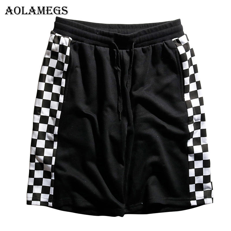 Aolamegs Shorts Men Side Plaid Bermuda Mens Beach Knee length Shorts Hip Hop Casual Sweatpants Drawstring Waist Loose Streetwear