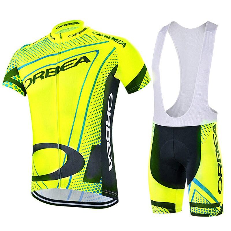 Nuovo Giallo Fluo Estate In Bicicletta Jersey 2018 Pro Team Orbea Manica Corta Vestiti Bici MTB Jersey Maglia Ciclismo Hombre + Gel Pad