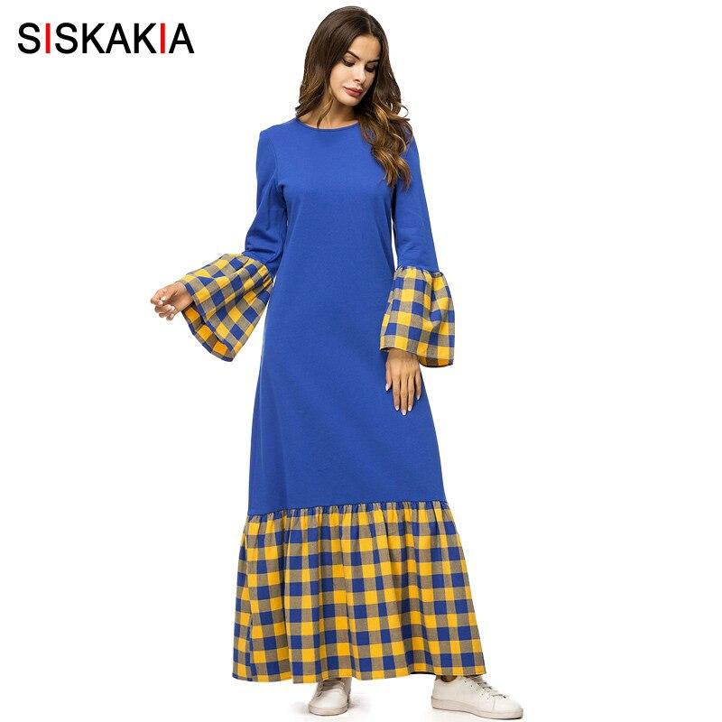 Siskakia di Contrasto di Modo di Colore Plaid Rappezzatura del Vestito Delle Donne di Caduta di Autunno 2018 Maxi Abiti Eleganti Manica Lunga Blu Del Vestito Femminile