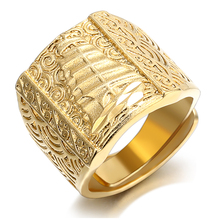 Punk Rock Sailing Boat Men 's Ring Luxury Gold Color Resizeable To 7-11 Finger Jewelry Never Fade