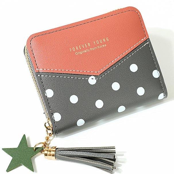 Short Purses Lady Coin Purse Tassels Zipper Women Dots Wallet Bag Cards ID Holder Girls Wallets Moneybags Notecase Pocket Poucht