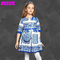 Kids Dresses For Girls Girl Dress 2017 New Girls Dress Half Sleeved Porcelain Print Spring Autumn Children Princess High-end