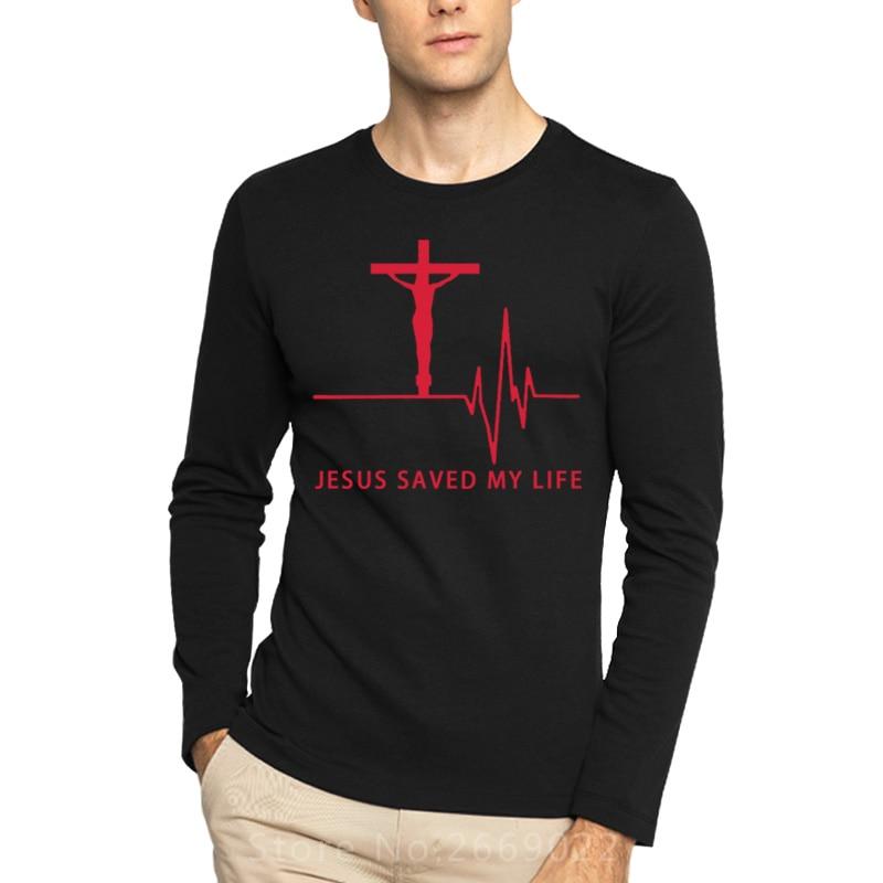New <font><b>Jesus</b></font> Saved My Life Printed T Shirt Savior God Religion Prayer Faith Christian Cotton Long Sleeve Plus Size O-neck T Shirts