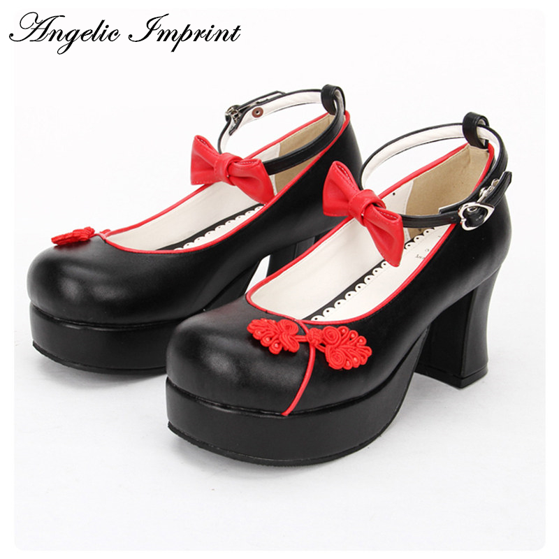 2017 New Chinese Style Chunky Heel Lolita Cosplay Shoes Sweet Bowtie Girls Ankle Strap Shoes new arrivals pale pink shiny leather kawaii rabbit ankle strap sweet lolita shoes 5 5cm heel pumps