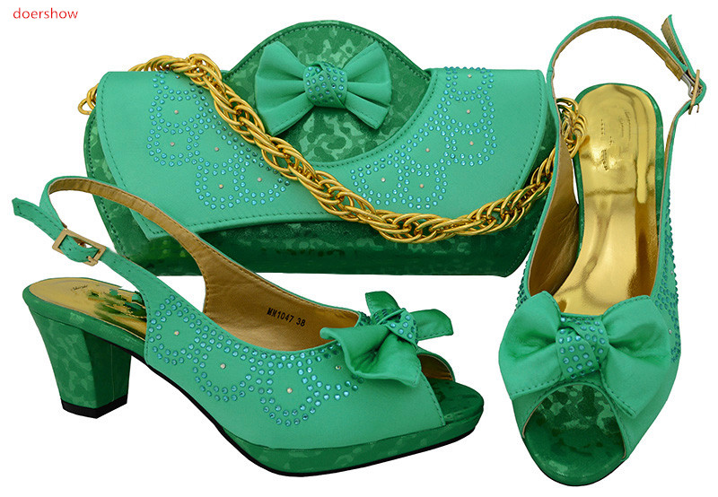 doershow African Women Matching Italian Shoe and Bag Set for green Wedding Italian Shoes with Matching Bags Italy Shoes!SWR1-39 doershow italian shoe with matching bag silver african shoe and bag set new design matching shoes and bags for party bch1 6