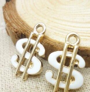 50pcs enamel charm Dollar sign pendant 20*12mm KC gold Accessories Handmade earrings bracelet necklace Jewelry Making DIY