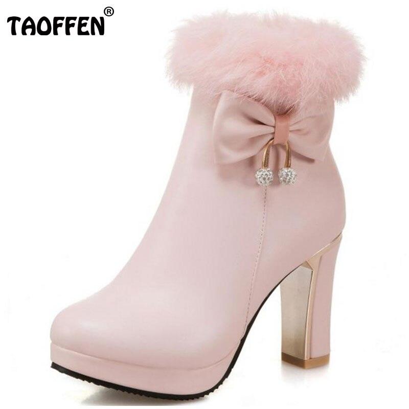 TAOFFEN Size 31-45 Women Mid Calf Boots Bowtie Zipper High Heel Boots Platform Thick Fur Warm Botas Snow Shoes Woman Footwears double buckle cross straps mid calf boots
