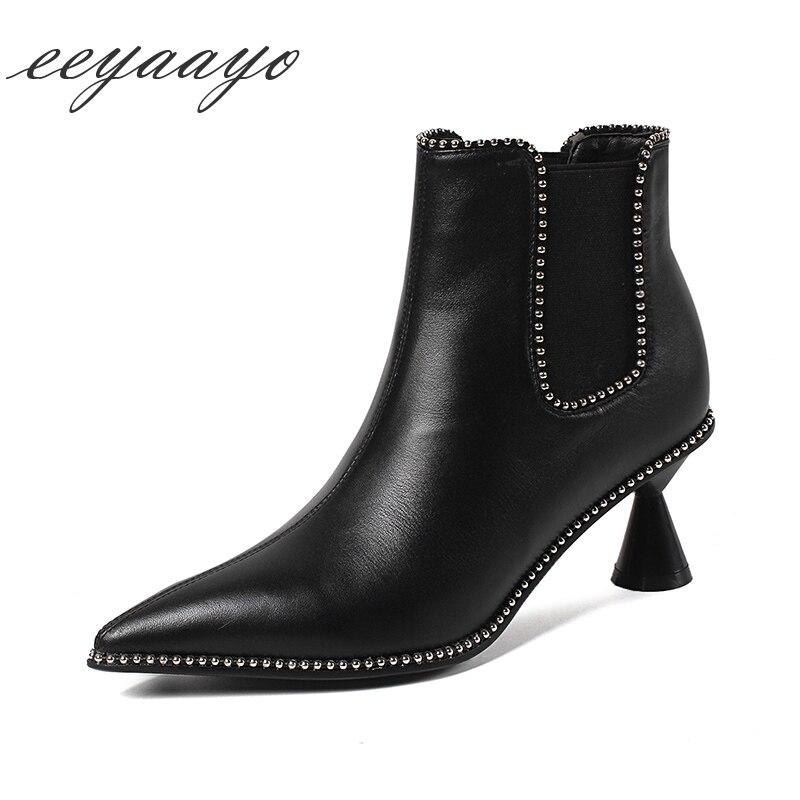 Nouveau hiver femmes bottines en cuir véritable talon haut bout pointu bande élastique Rivet Sexy dames bottes de neige noir femmes chaussures