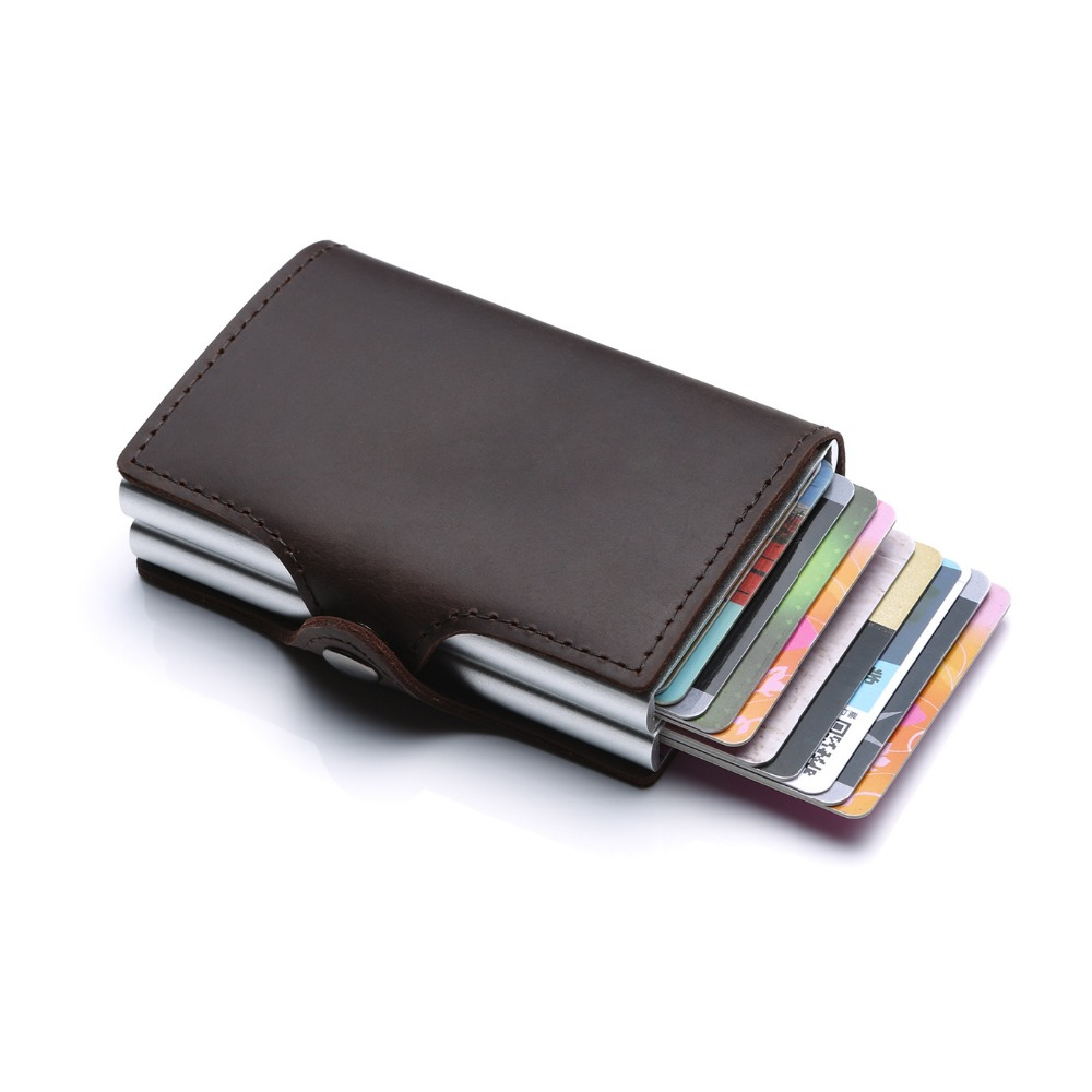 Men And Women Credit Card Holder RFID Aluminium Business card holder Crazy Horse Leather Travel ID Card Wallet slide wallet