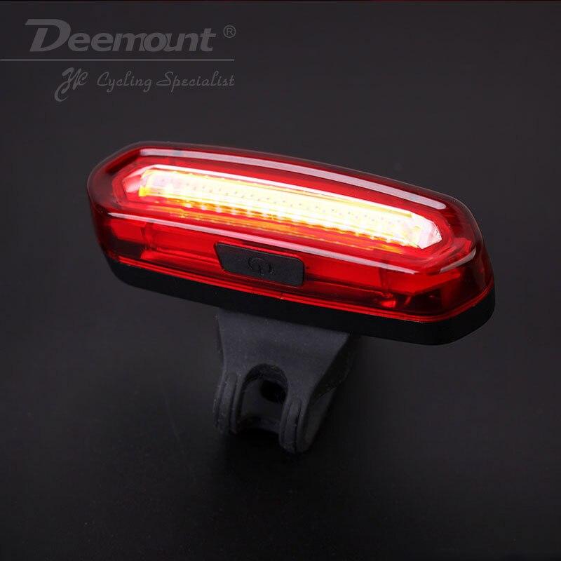 Deemount COB Arrière lumière De Vélo Feu Arrière Avertissement de Sécurité USB Rechargeable Lumière De Queue de Bicyclette Lampe Comet LED Vélo Vélo Lumière