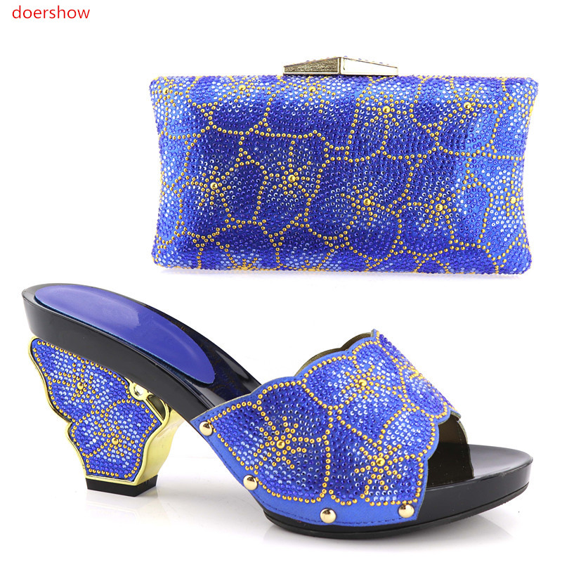 doershow Beautiful Italian Shoes With Matching Bags To Match African Shoe And Bag Set Matching Shoes And Bags For Party!HV1-58 fashion italy design italian matching shoe and bag set african wedding shoe and bag sets women shoe and bag to match tmm1 41
