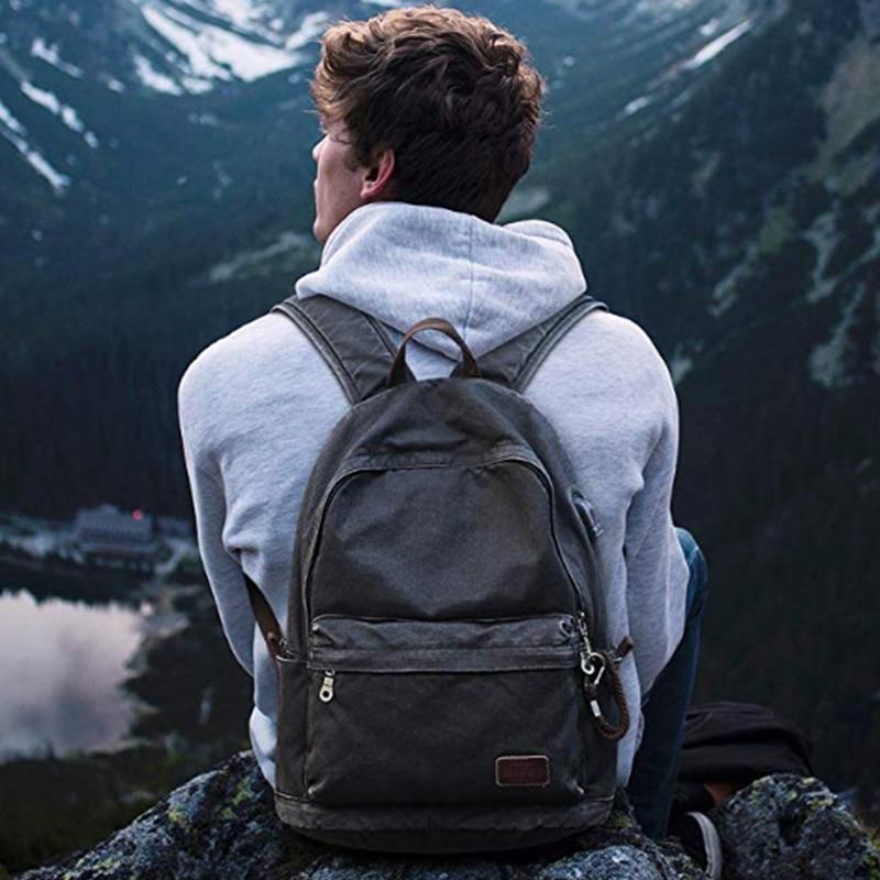 Muzee Retro Men USB Design Backpack Casual Canvas Bag Fashion Backpack Student bag Male Laptop Backpack