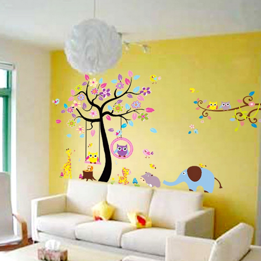 Large Size(4pieces/set 93*61 inch) Cartoon Animal Paradise Tree Wall <font><b>Stickers</b></font> Decal for <font><b>Children</b></font> Kids Room Decor