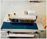 High quanlity FR 900 continuous plastic bag sealing machine,automatic sealer machine steel wheel printing code date,batch number