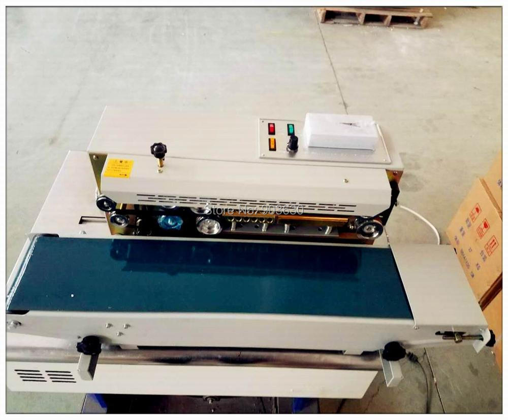 High quanlity FR-900 continuous plastic bag sealing machine,automatic sealer machine steel wheel printing code date,batch number
