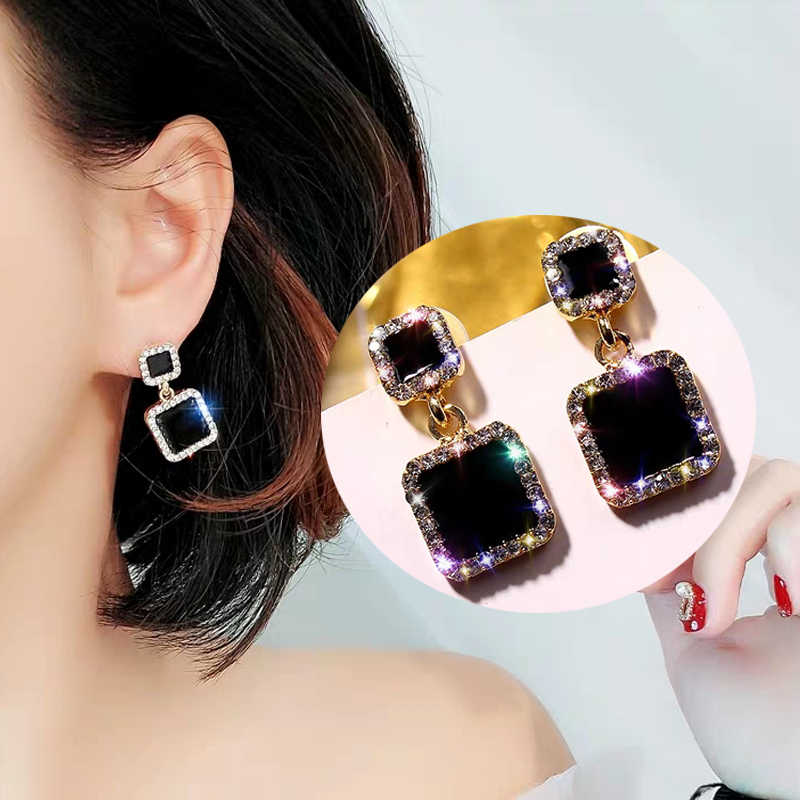 TMXK angel Statement Earrings for Women 2019 Black Square Luxurious Crystal Earrings Golden Earrings Gift for Wedding