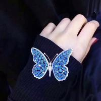 Qi Xuan_Blue Butterfly Woman Brooch S925 Sterling Silver Studded With Zircon Brooch Elegant Temperament