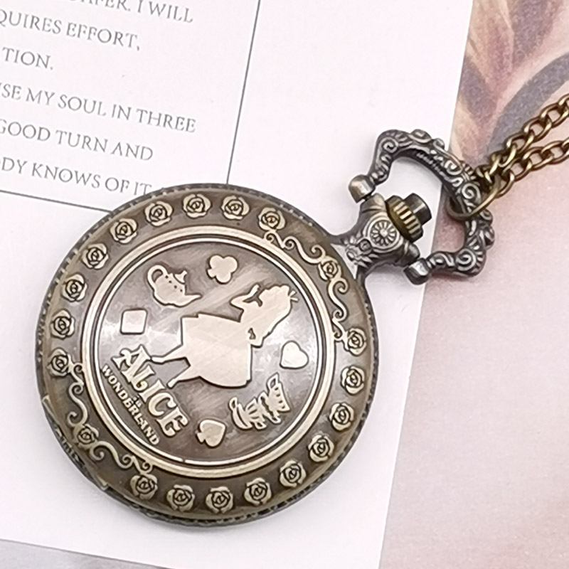 New Arrival Retro Girl Wonderland Theme Bronze Quartz Pocket Watches Vintage Fob Watches Christmas Birthday Gift