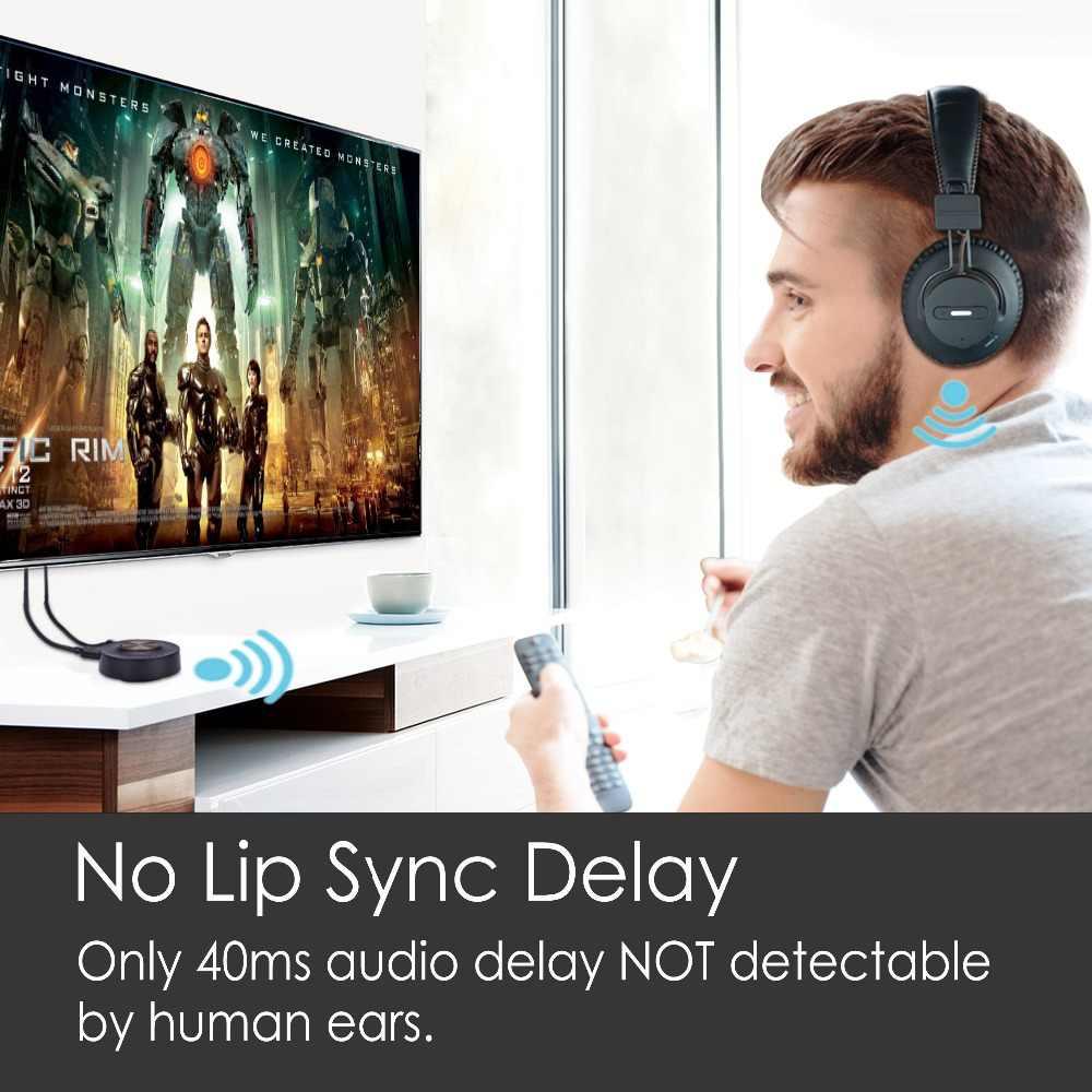 4514a5edf94 ... Avantree Wireless Headphones for TV with Bluetooth Transmitter SET,  Plug & Play, No Lip ...