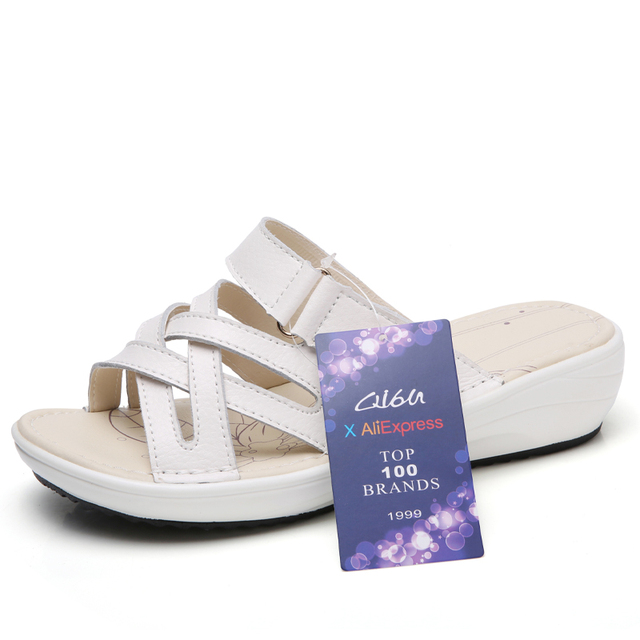 O16U women sandals Shoes Leather flat Sandals Low Heel Wedges Summer women Open Toe Platform Sandalias ladies gladiator sandals