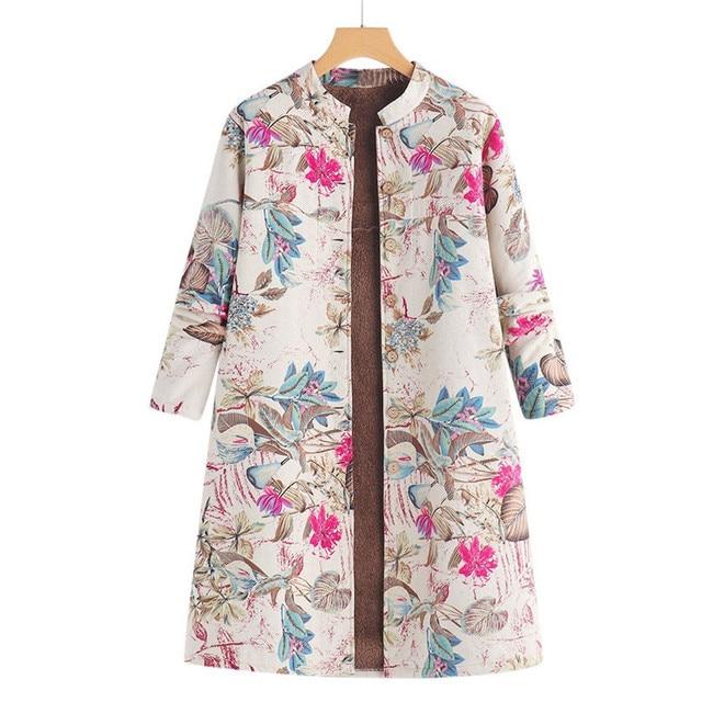 40c8738e64 Plus Size Womens Long Coat Winter Warm Outwear Button Floral Print Pockets Cotton  Linen Fluffy Fur Vintage Oversize Coats veste