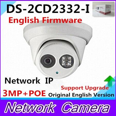 Wholesale English Version IP Camera DS-2CD2332-I 3MP 1080p mini dome Network IP Camera IR POE cctv camera 2.8mm