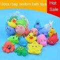 13 pcs bonito borracha macia flutuador sqeeze som brinquedos play animais brinquedos de banho de lavagem do bebê