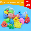 13Pcs Cute Soft Rubber Float Sqeeze Sound Baby Wash Bath Toys Play Animals Toys