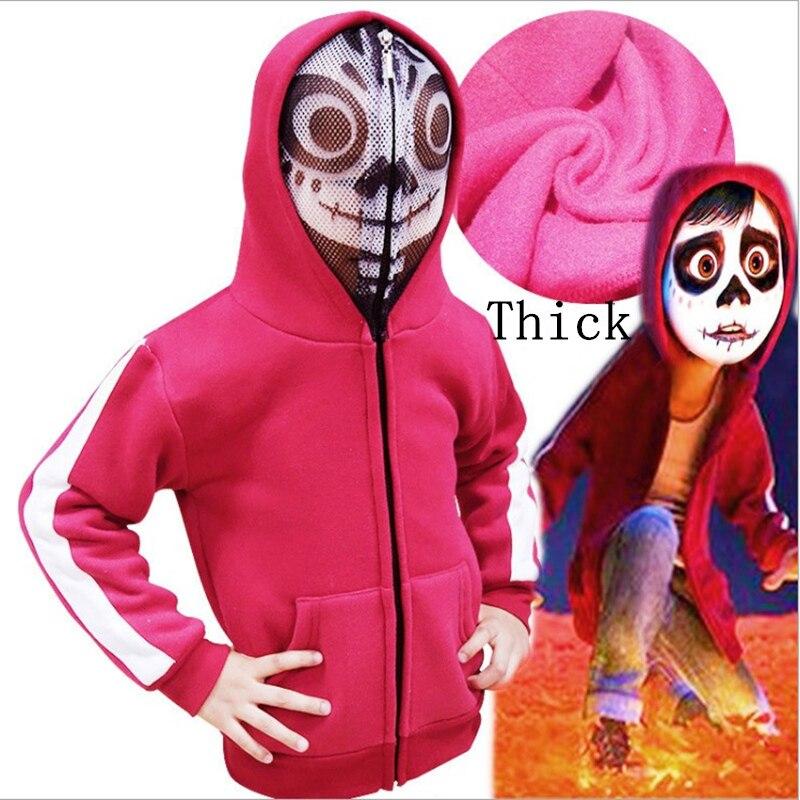 Logisch Kids Moive Coco Miguel Cosplay Kostuums Anime Jassen Zip Hoodies Rood Sweatshirts Jas Kan Herhaaldelijk Worden Omgedraaid.