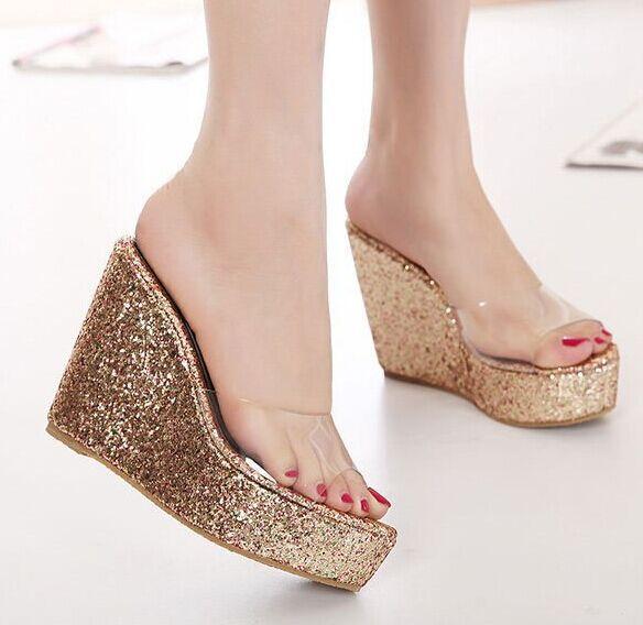 d7d4656ac Size 4~8 Beach High Heel Women Shoes Golden Wedges Women Pumps 2015 zapatos  mujer