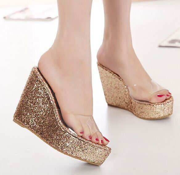 de8e17e63daa Size 4~8 Beach High Heel Women Shoes Golden Wedges Women Pumps 2015 zapatos  mujer