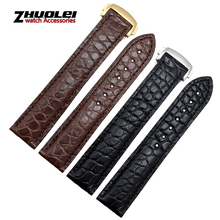 Luxo genuine pulseira de couro de jacaré com prata / ouro / rosa de ouro fivela 18 / 19 / 20 mm marrom preto
