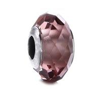 925 En Argent Sterling Perle Prismatique Surface De Coupe En Verre Brun Bricolage Perles Fit Femmes Pandora Charms Bracelets ZCZ010