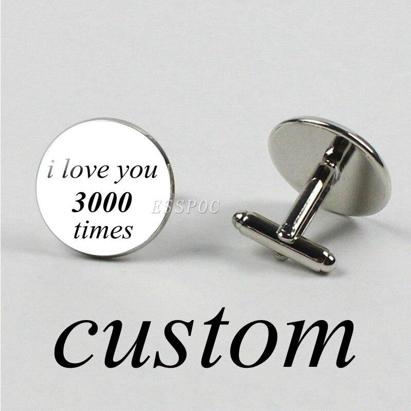 1 Pair Custom Photo Logo Text Cufflinks Men Black Cufflinks Shirt Customized Wedding Cufflink Father's Day Gifts Husband Gift