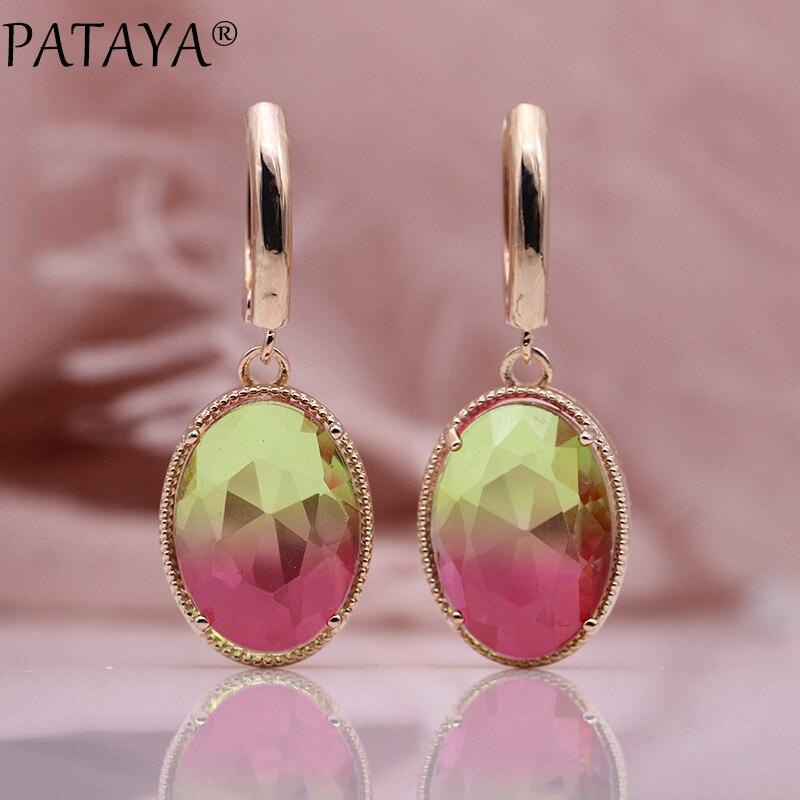 PATAYA nouveau ovale Long Dangle boucles d'oreilles femmes mode bijoux de mariage 585 Rose or naturel Zircon boucles d'oreilles 13 Tourmaline couleurs