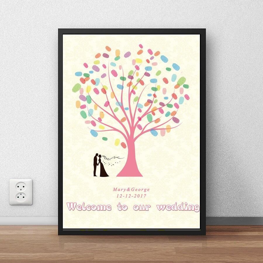 Fingerprint Wedding Party Tree Signature Canvas Painting