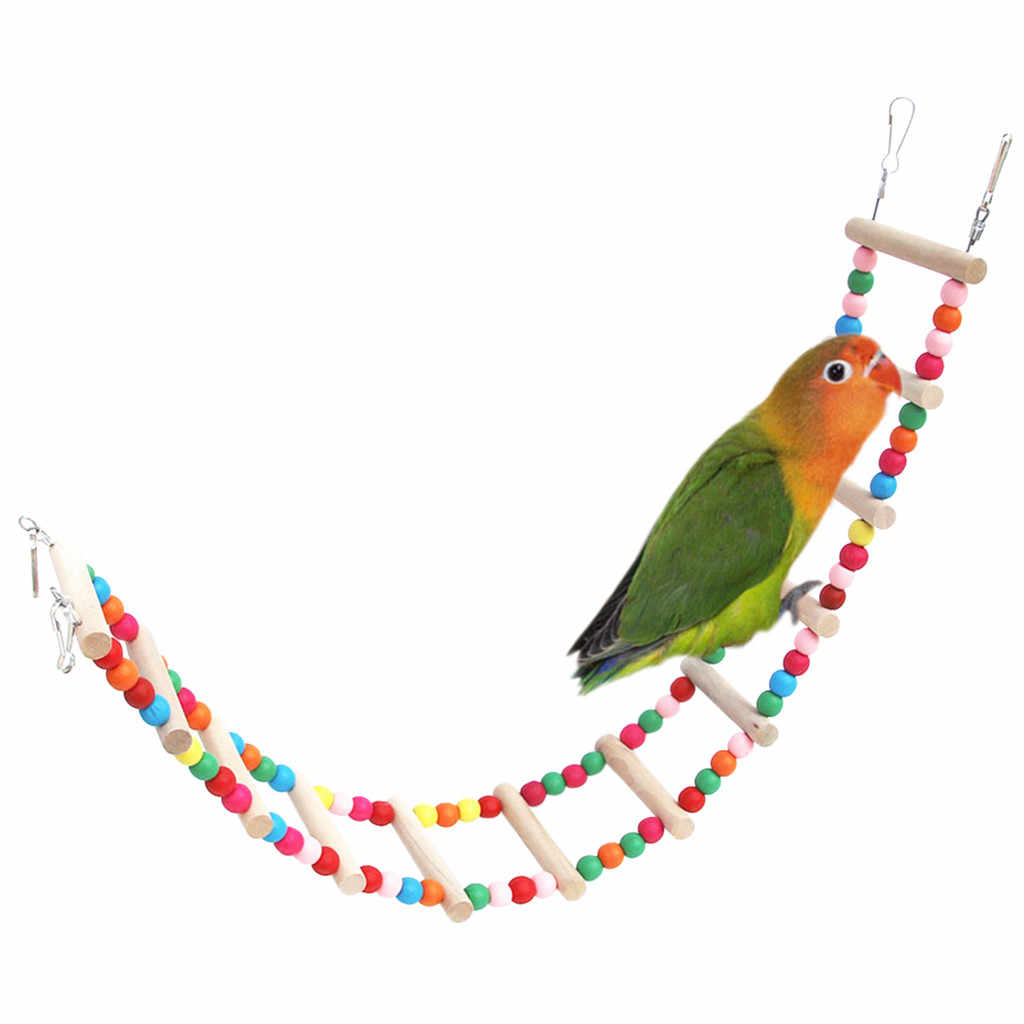 Pet Bird ToysLadder Cableway Toys Colorful Bridge Parrot Bites Cage Climbing Toy Hanging Colorful Balls With Natural Wood