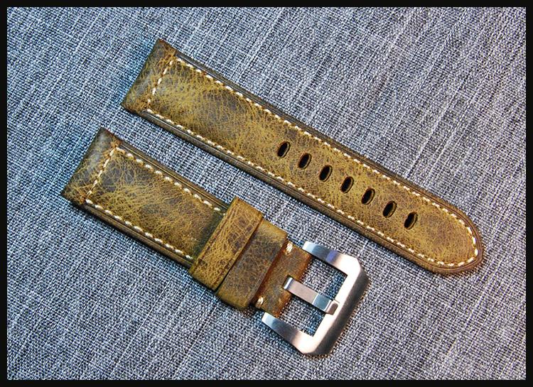 Prix pour 24mm À La Main Italien Brun Vintage Cuir Véritable Bande De Montre Bracelet Bracelet pour PAM