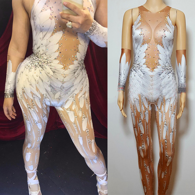 Crystals Wings Angel Jumpsuit White Feather 3D Printed Bodysuit Bar Sexy Nightclub Singer Rhinestones Stage Rave Clothes DN1979