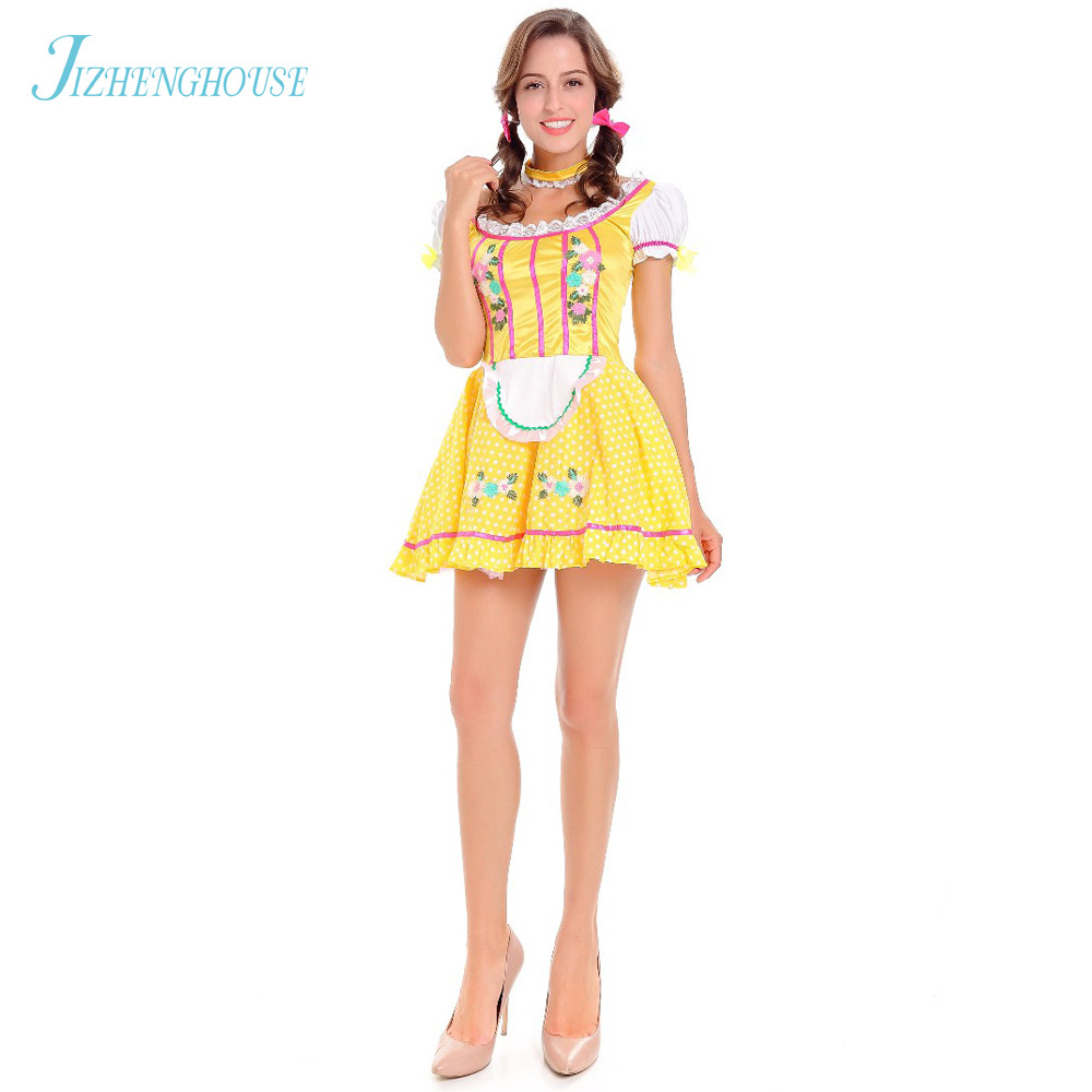 JIZHENGHOUSE Octoberfest Carnival Wench Fancy Dress Sexy Halloween German Oktoberfest Beer Girl Costumes