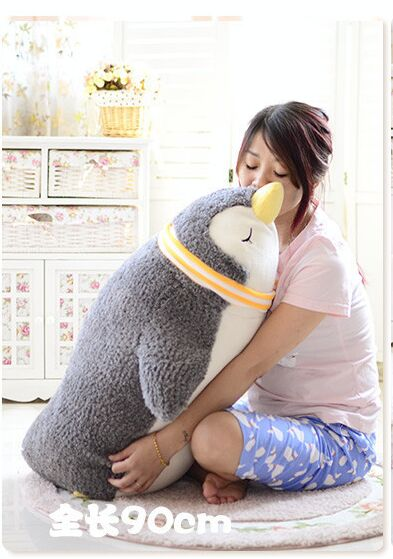 big new plush scarf penguin toy lying gray penguin doll gift about 70cm 2670