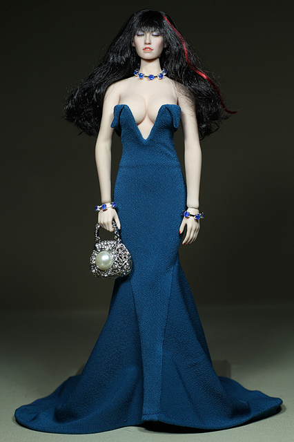 US $32 95 |Mnotht Custom 1/6 Scale Female Figure Clothes Blue Dress For 12  inches PH Large Bust Body Figures Accessories l30-in Action & Toy Figures