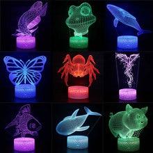 3D LED Night Lights Spider Fish Pig Whale Frog 7 Color Change Hologram Atmosphere Novelty Lamp for Home Decoration Illusion Gift