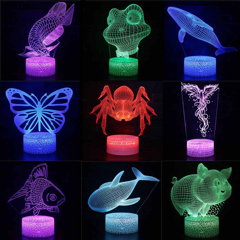 Color Whale 3d Fish Frog 7 Change Pig Lights Led Night Spider xhdCsQrtB