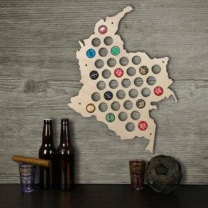 Mapa de tapa de cerveza Colombia, tapa de botella de madera, mapa de exhibición, decoración, mapa de madera, decoración para el hogar