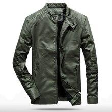 купить!  2019 весна осень PU кожаная куртка мужчины Slim Fit пальто стойка воротник с длинным рукавом куртки