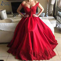 AE1242 New Elegant Off Shoulder Beaded Lace Satin Evening Dresses Party Long Prom Dresses Formal Gown robe de soiree robe longue