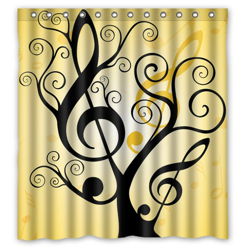 Awesome Artist Music Note Tree Custom Made Shower Curtain Bath Bathroom Waterproof Shower  Curtains Size 48x72,